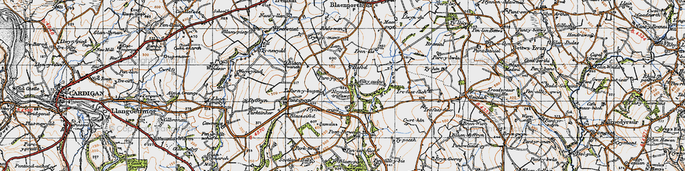 Old map of Allt-y-cadno in 1947