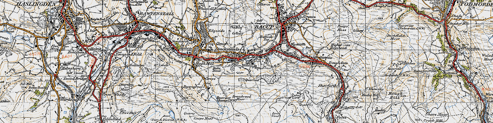 Old map of Rossendale Valley in 1947