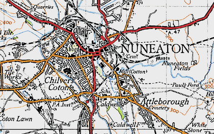 Old map of Nuneaton in 1946