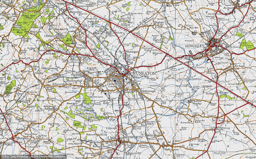 Map of Nuneaton 1946 Francis Frith