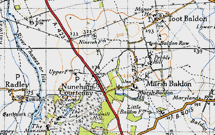 Old map of Nuneham Courtenay in 1947