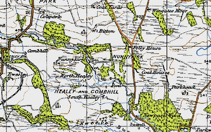 Old map of Wingates Wholme in 1947