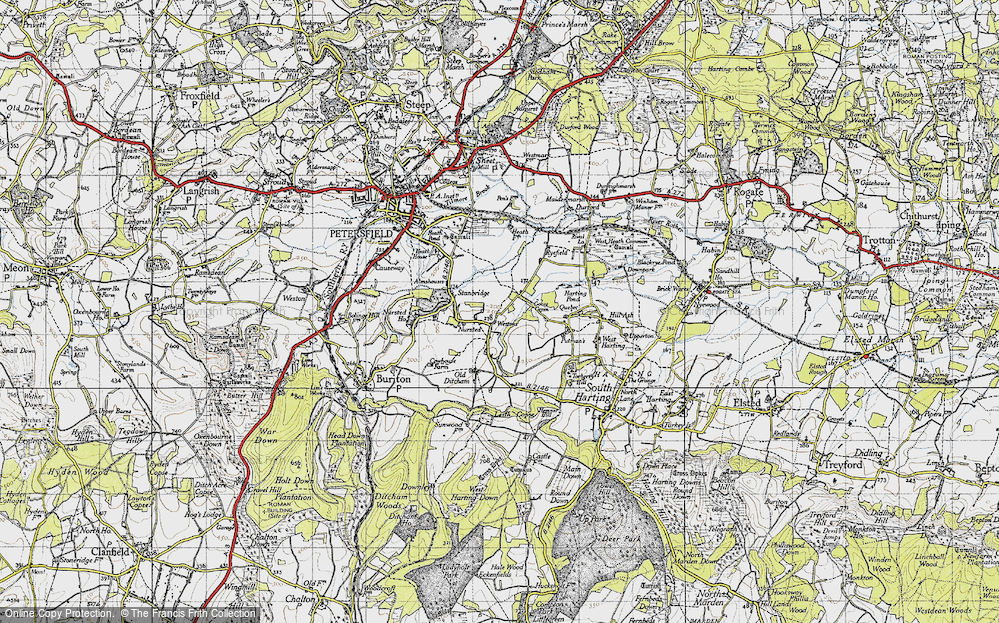 Old Map of Historic Map covering Leith Copse in 1945