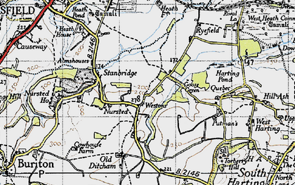 Old map of Westons in 1945