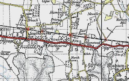 Old map of Nutbourne in 1945