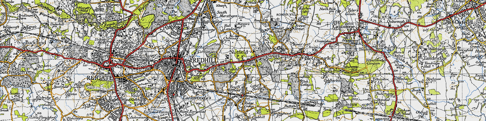 Old map of Nutfield in 1940