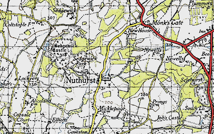 Old map of Nuthurst in 1940