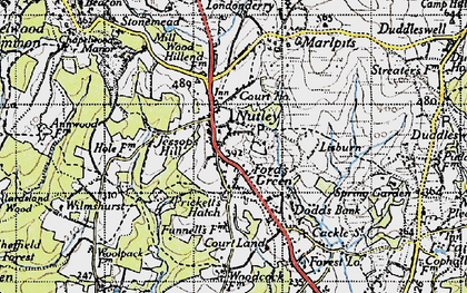 Old map of Nutley in 1940