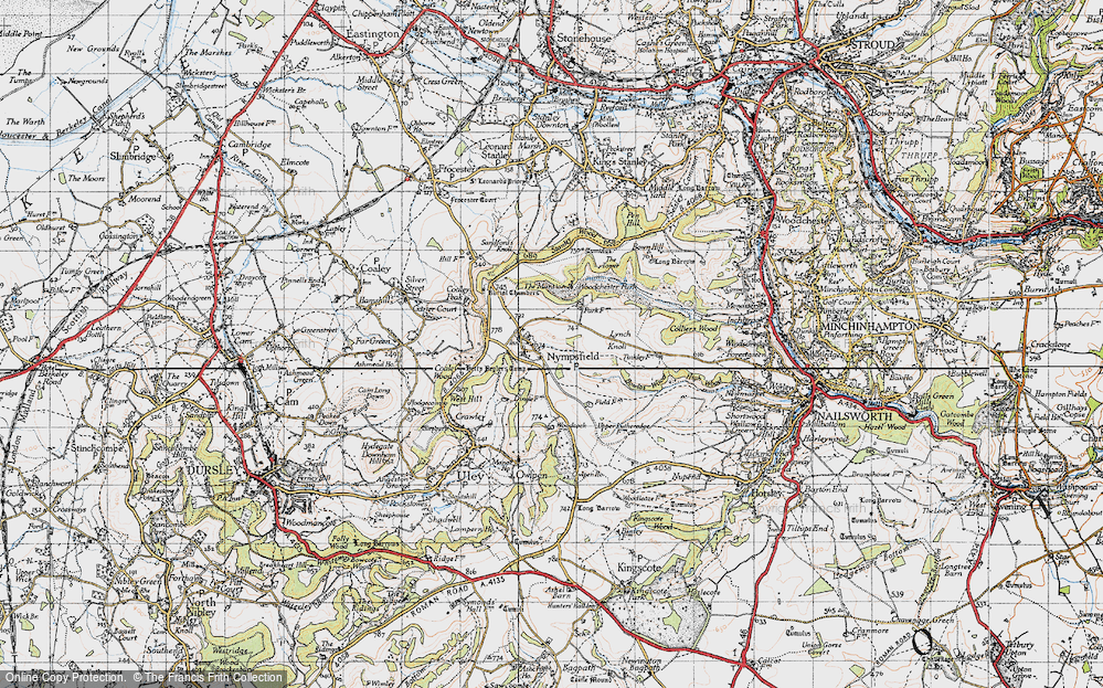 Old Map of Historic Map covering Woodchester Park in 1946