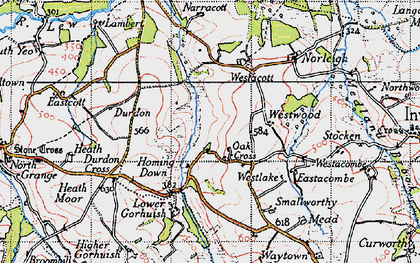 Old map of Westacott in 1946