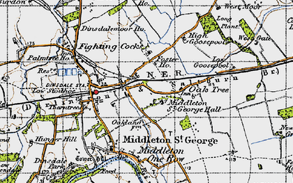 Old map of Durham Tees Valley Airport in 1947