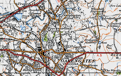 Old map of Oakengates in 1946