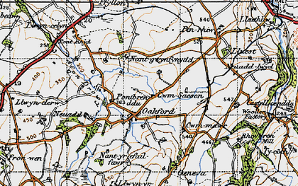 Old map of Oakford in 1947