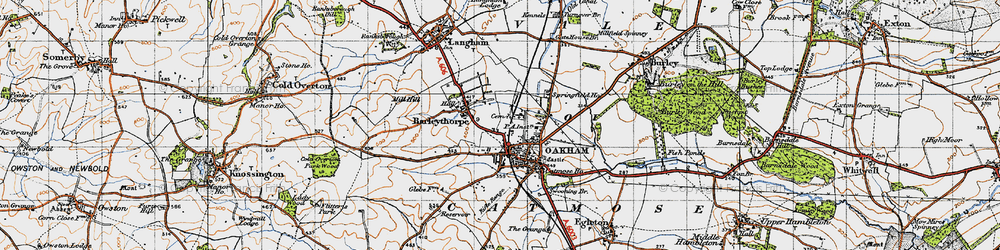 Old map of Oakham in 1946