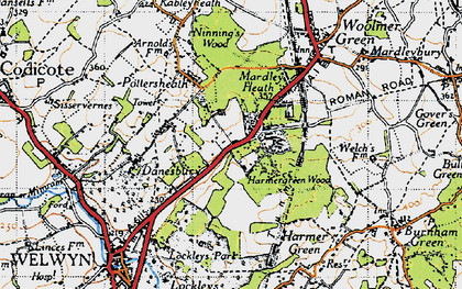Old map of Oaklands in 1946