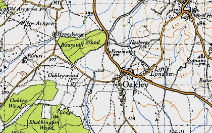 Old map of Oakley in 1946
