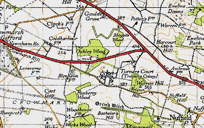Old map of Wicks Wood in 1947