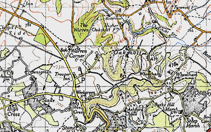 Old map of Wheatham Hill in 1940
