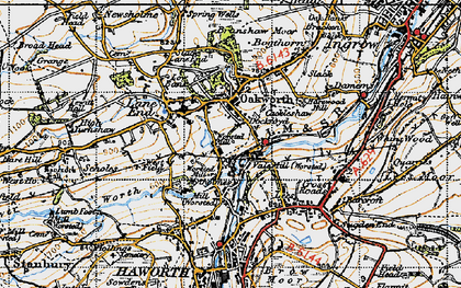 Old map of Oakworth in 1947