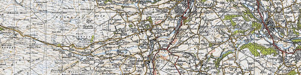 Old map of Oakworth in 1947