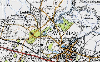 Old map of Oare in 1946