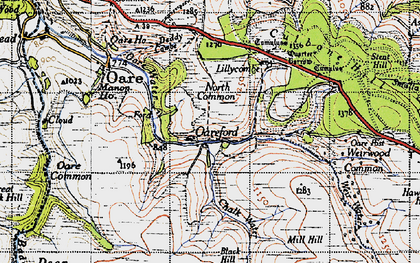 Old map of Badgworthy Water in 1946