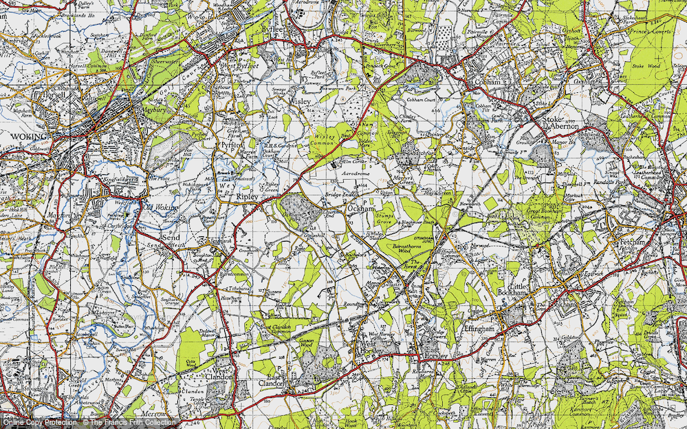 Old Map of Historic Map covering Bachelors in 1940