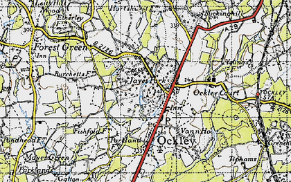 Old map of Ockley in 1940