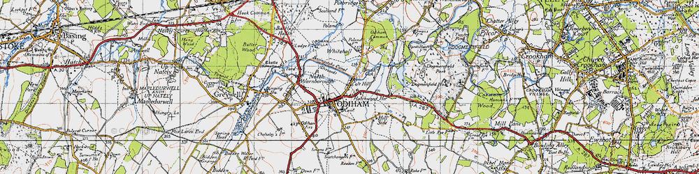 Old map of Odiham in 1940