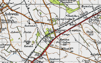 Old map of Ashwell & Morden Sta in 1946
