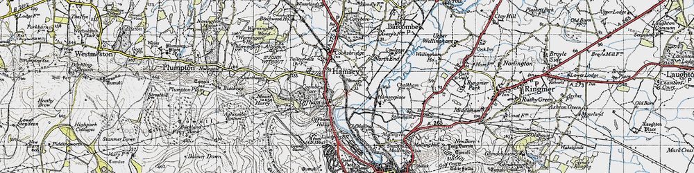 Old map of Offham in 1940