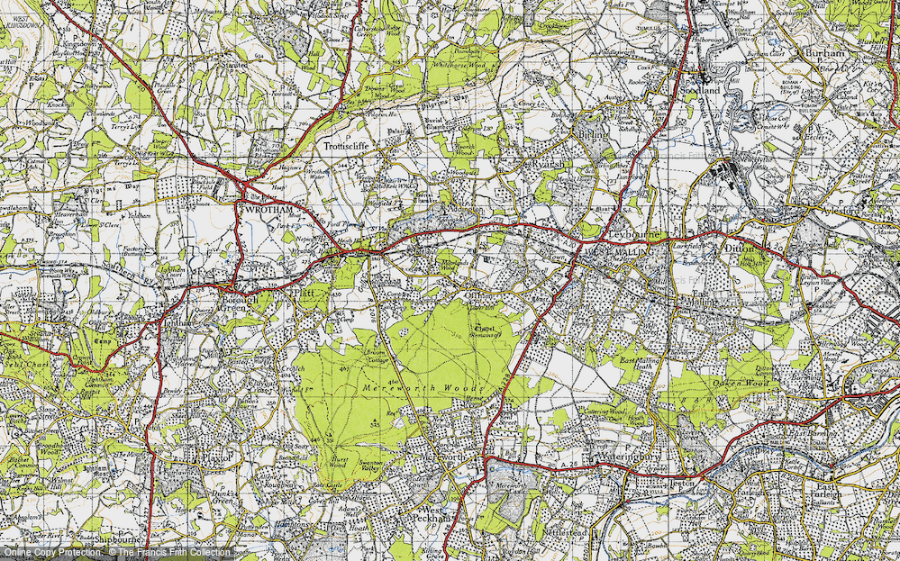 Old Map of Historic Map covering Aldon in 1946