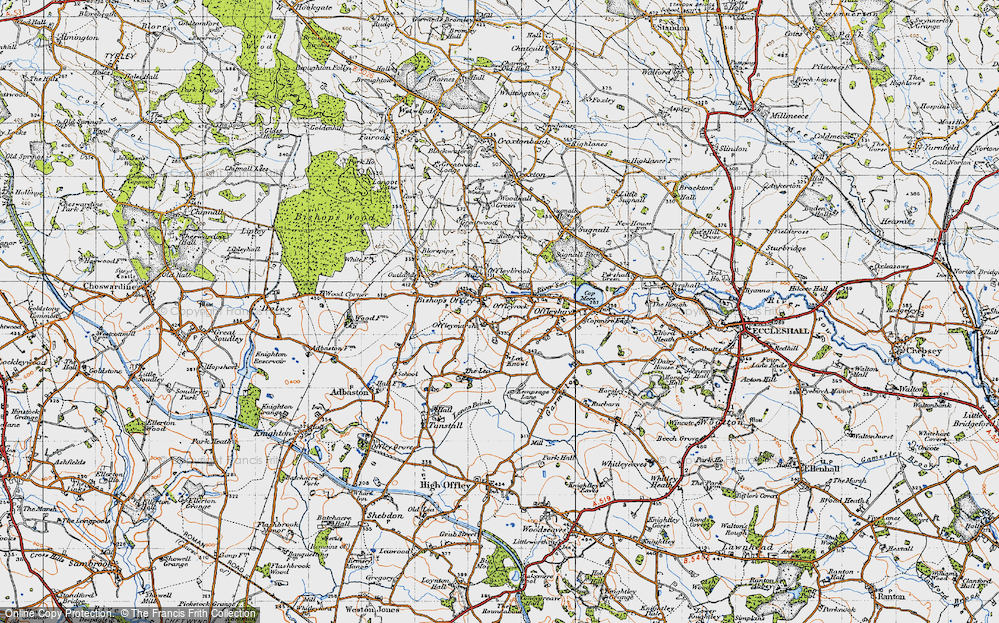 Old Map of Historic Map covering Lea Knowl in 1946