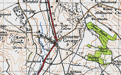 Old map of Ogbourne St George in 1947