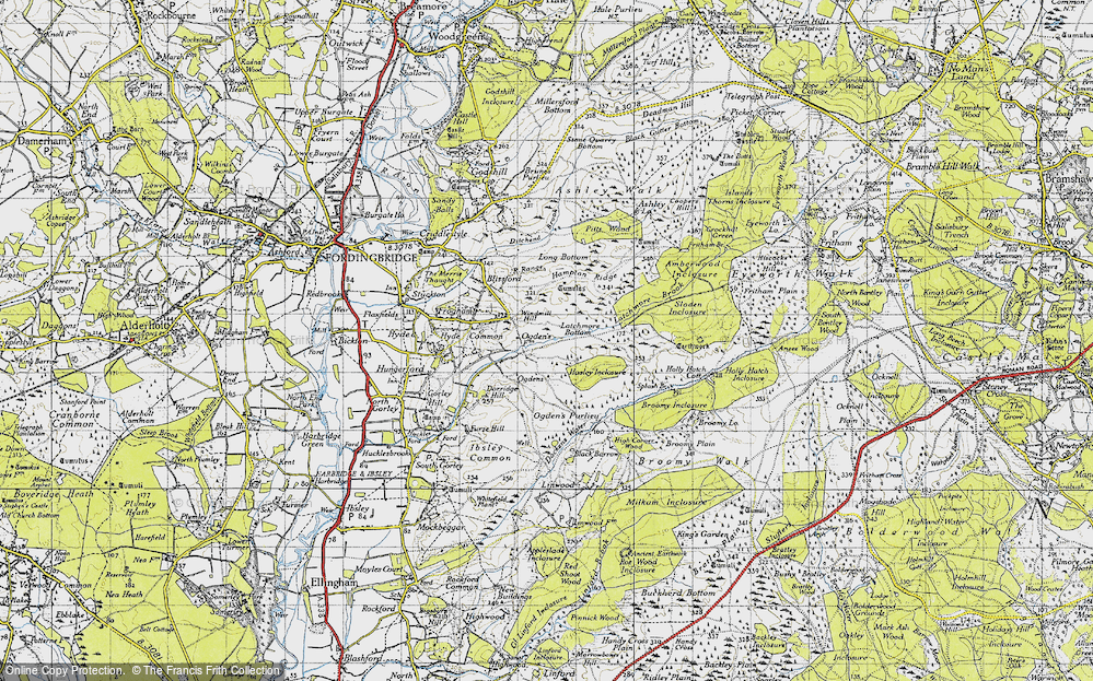 Old Map of Historic Map covering Alderhill Inclosure in 1940