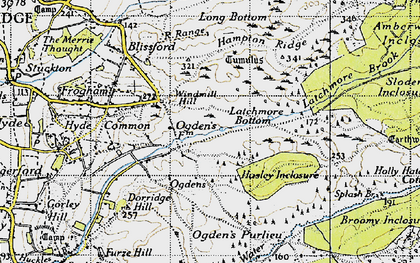Old map of Alderhill Inclosure in 1940