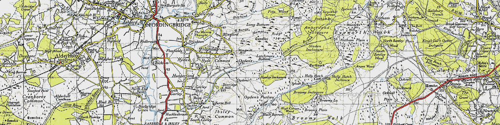 Old map of Abbots Well in 1940