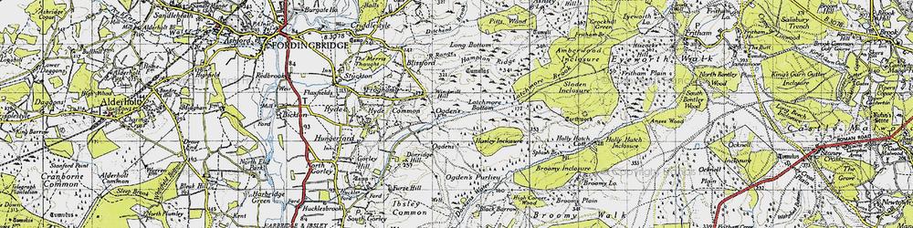 Old map of Alderhill Inclosure in 1940