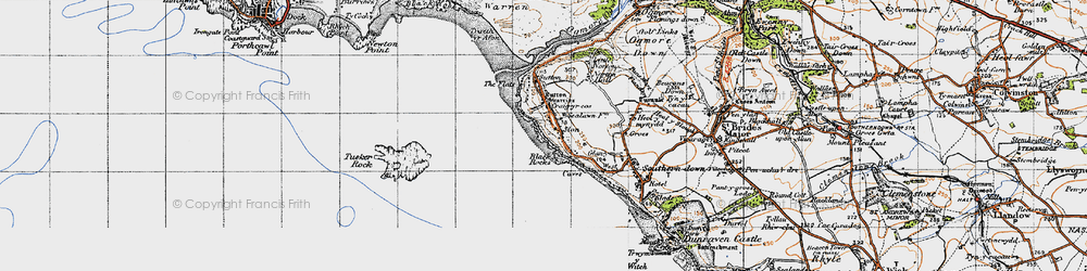 Old map of Ogmore-by-Sea in 1947