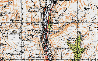 Old map of Aber Ho in 1947