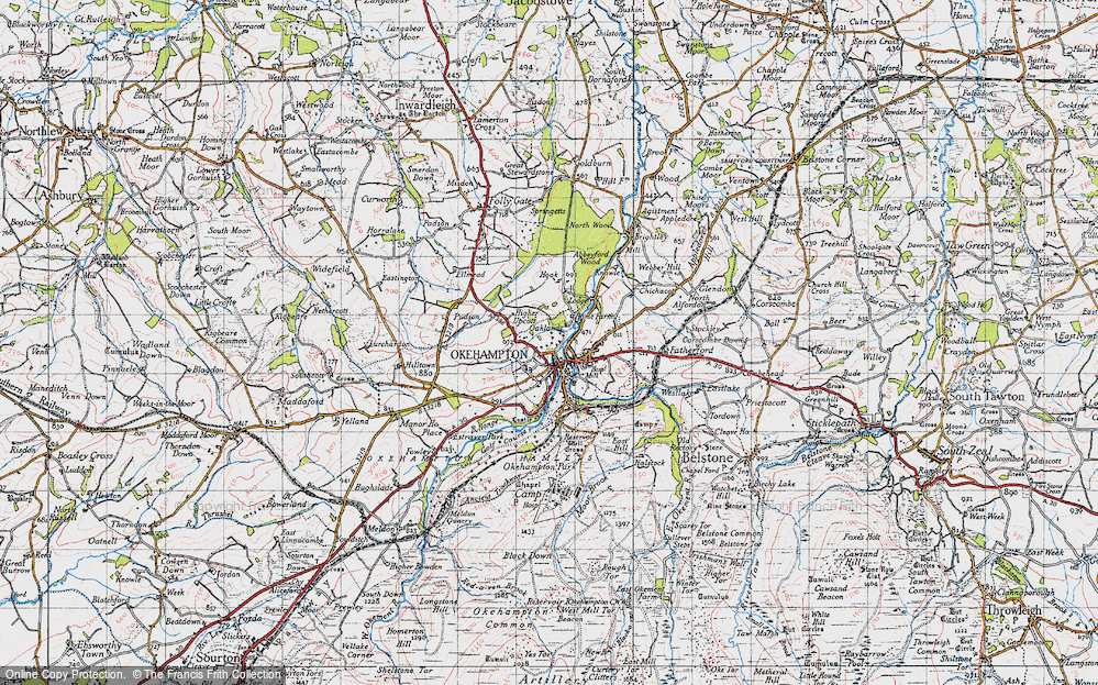 Old Map of Historic Map covering Woodclose in 1946