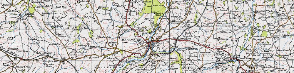 Old map of Okehampton in 1946