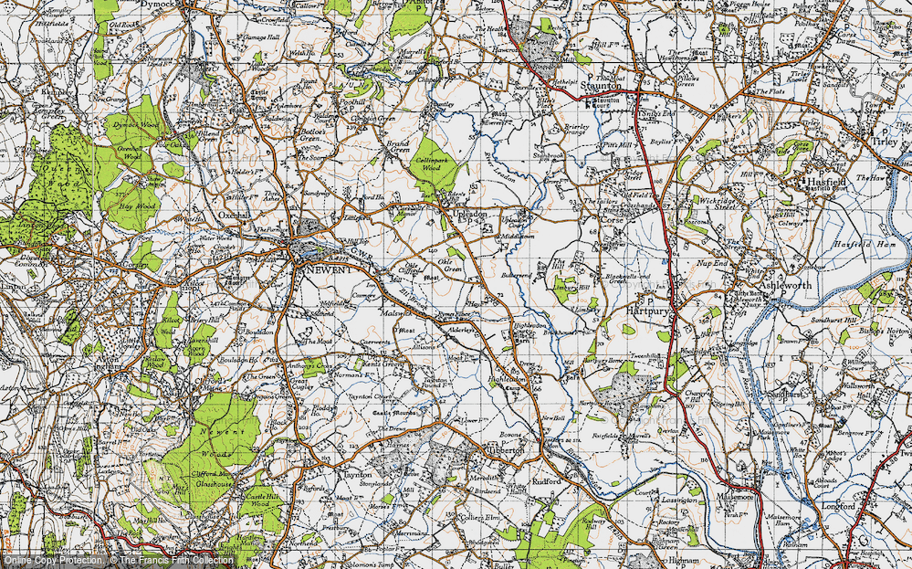 Old Map of Historic Map covering Alderleys, The in 1947