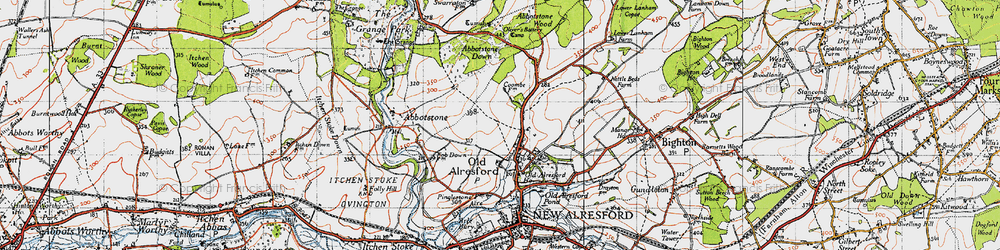 Old map of Abbotstone Woods in 1945