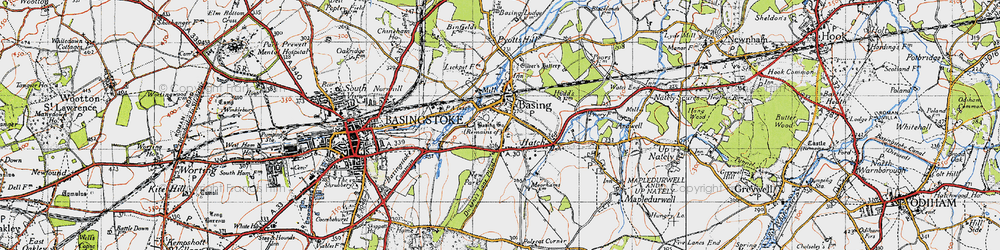 Old map of Old Basing in 1945