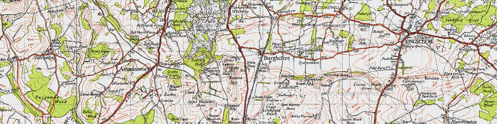 Old map of Old Burghclere in 1945