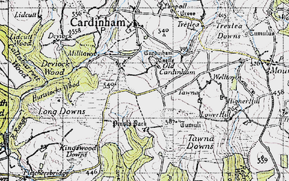 Old map of Old Cardinham Castle in 1946