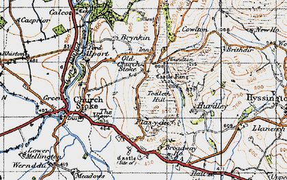 Old map of Todleth Hill in 1947