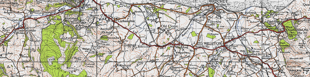 Old map of Old Cleeve in 1946