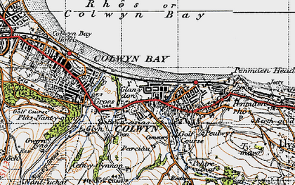 Old map of Old Colwyn in 1947